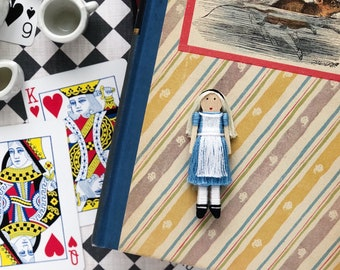 NEW! Alice in Wonderland Worry Doll | Alice in Wonderland Christmas Ornament | Alice in Wonderland Clothespin Doll
