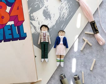 Stranger Things | Mike and Eleven Worry Dolls | Stranger Things Christmas Ornaments | Stranger Things Clothespin Dolls