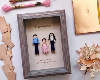 2-4 Family Members Custom Family Portrait | Personalized Worry Doll Gift Set | Custom Family Photo | Framed Family Photo