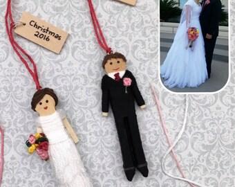 Custom Wedding Christmas Ornament | Personalized Anniversary Gift | Custom Bride and Groom Worry Doll Set | Unique Wedding Gift