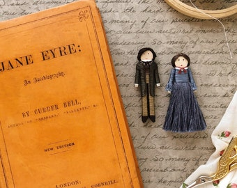 NEW! Jane Eyre Worry Doll Set | Jane Eyre and Mr. Rochester Christmas Ornaments | Charlotte Bronte Clothespin Dolls
