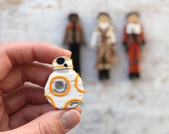 BB-8 Clothespin Doll | BB-8 Christmas Ornament | Star Wars Clothespin Dolls | BB-8 Worry Doll