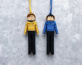 James T. Kirk and Spock Worry Doll Set | Star Trek Christmas Ornaments | Kirk and Spock Clothespin Dolls