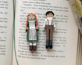 Anne of Green Gables Worry Doll Set | Anne Shirley and Gilbert Blythe Christmas Ornaments | Anne and Gilbert Clothespin Dolls