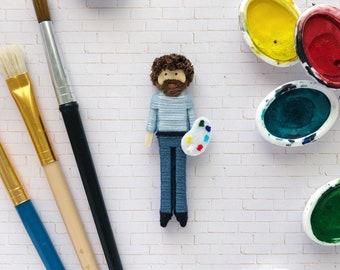 NEW! Bob Ross Worry Doll | Bob Ross Christmas Ornament | Bob Ross Miniature Clothespin Doll