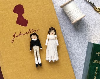 Pride and Prejudice Worry Doll Set | Elizabeth Bennet and Mr. Darcy Christmas Ornaments | Elizabeth and Darcy Clothespin Dolls
