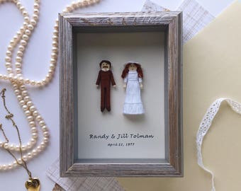 Custom Wedding Portrait | Personalized Anniversary Gift | Framed Bride and Groom Worry Doll Set | Unique Wedding Gift