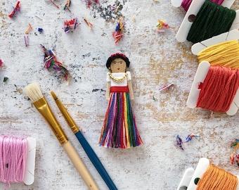 Frida Kahlo Worry Doll | Frida Kahlo Christmas Ornament | Frida Kahlo Clothespin Doll
