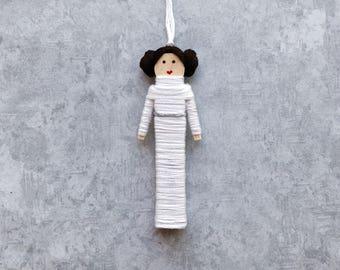 Princess Leia Worry Doll | Princess Leia Christmas Ornament | Princess Leia Clothespin Doll