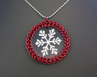 Chainmaille Wrapped Snowflake Pendant Necklace