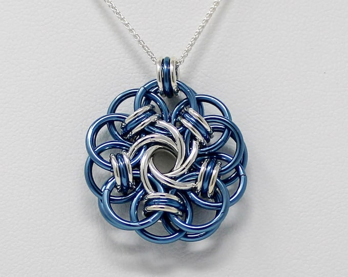 Sterling Silver Pendant Necklace - Sterling Silver and Niobium Vortex Medallion