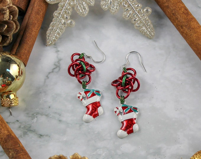 Christmas Stocking Dangle Holiday Earrings - Chainmaille Holiday Earrings