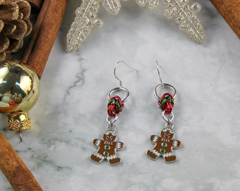 Gingerbread Man Christmas Chainmaille Dangle Earrings