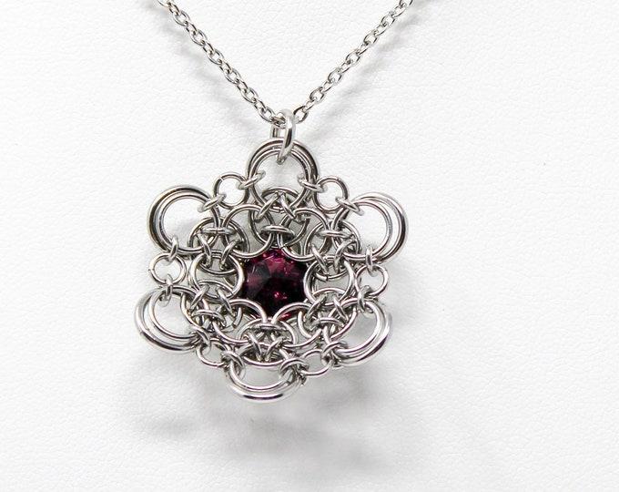 Swarovski Flower Pendant Necklace - Stainless Steel Pendant Necklace