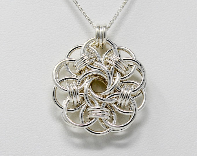 Sterling Silver Pendant Necklace - Sterling Silver Vortex Medallion - Sterling Silver Chainmaille Pendant
