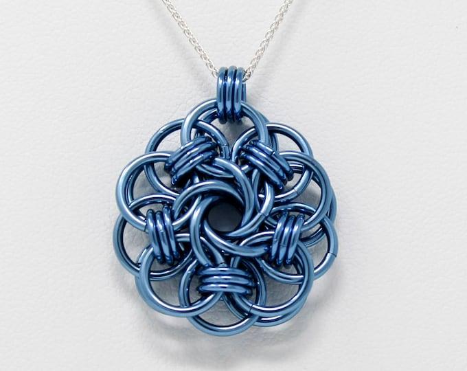 Misty Blue Niobium Pendant Necklace - Blue Niobium Vortex Medallion