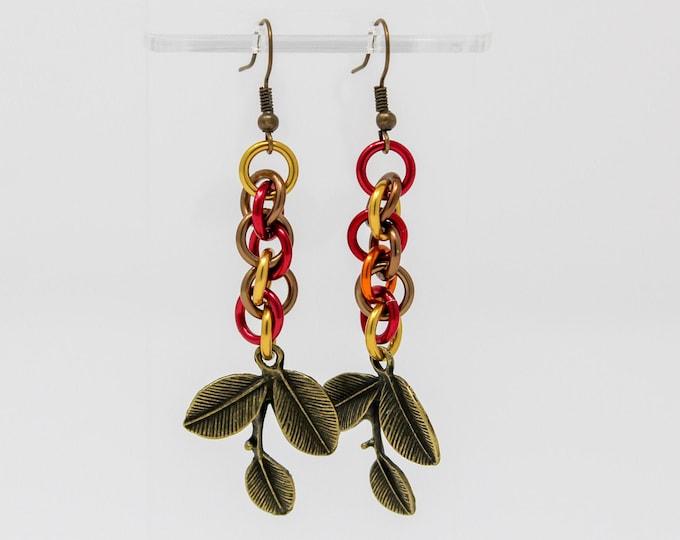 Bronze Chainmaille Earrings - Autumn Leaf Drop Earrings