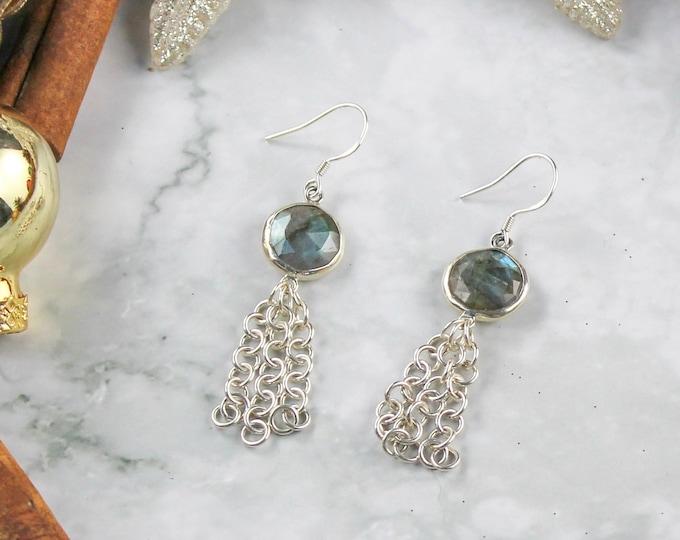 Silver Labradorite Earrings - Sterling Silver Dangle Earrings - Northern Lights Stone