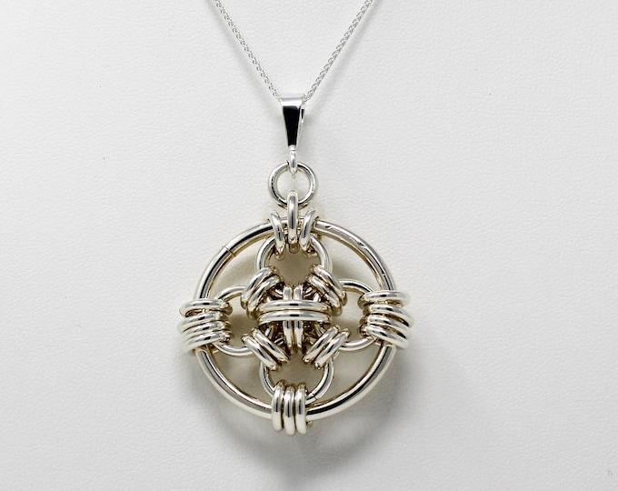 Sterling Silver Crosshairs Medallion Pendant