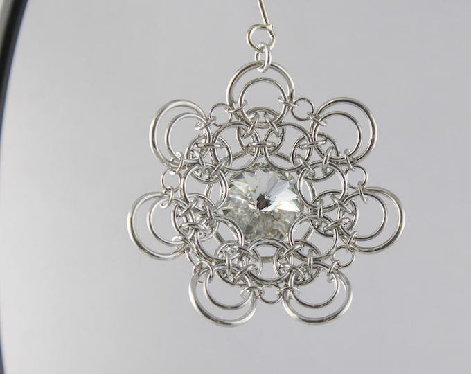 Clear Swarovski Christmas Ornament - Chainmaille Christmas Ornament