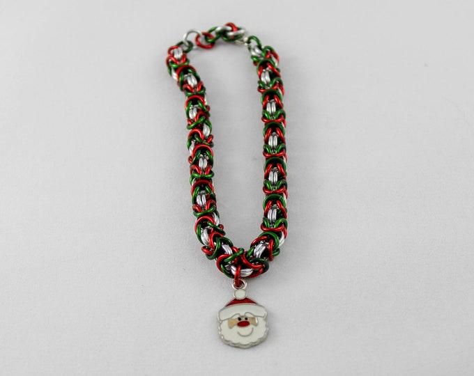 Santa Christmas Bracelet - Byzantine Charm Bracelet Stocking Stuffer
