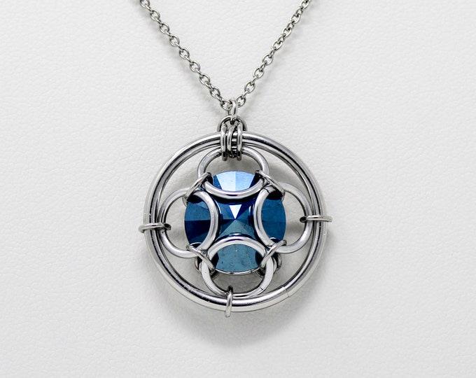 Blue Crystal Pendant Necklace - Captured Swarovski Crystal Pendant Necklace