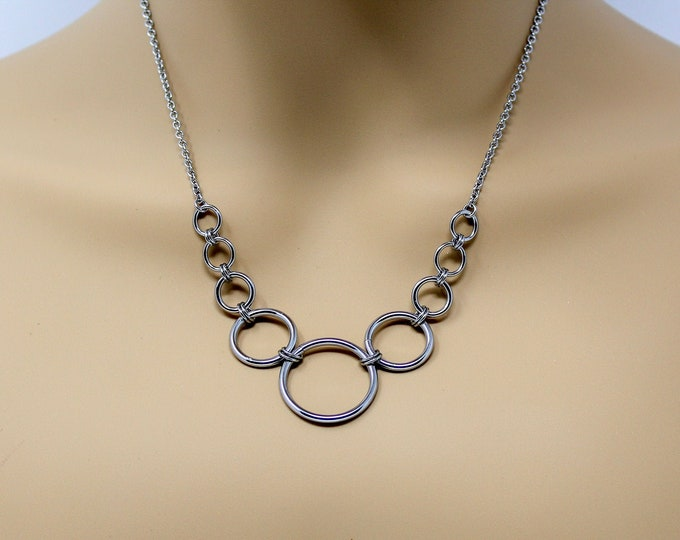 "Simple Stainless Steel Necklace 18"" - Stainless Steel Graduated Circles Necklace - Stainless Steel Necklace"