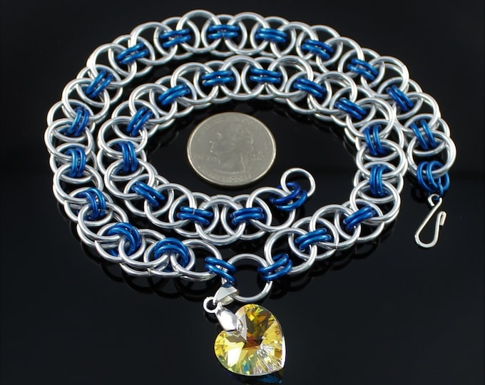 Blue and Silver Necklace - Swarovski Chainmaille Necklace - Swarovski Heart Necklace - Helm Chainmaille Necklace - Sparkly Chainmaille