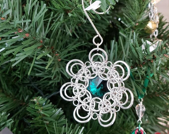 Emerald Swarovski Christmas Ornament - Chainmaille Christmas Ornament