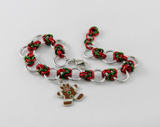 Gingerbread Man Christmas Bracelet - Byzantine Charm Bracelet Stocking Stuffer