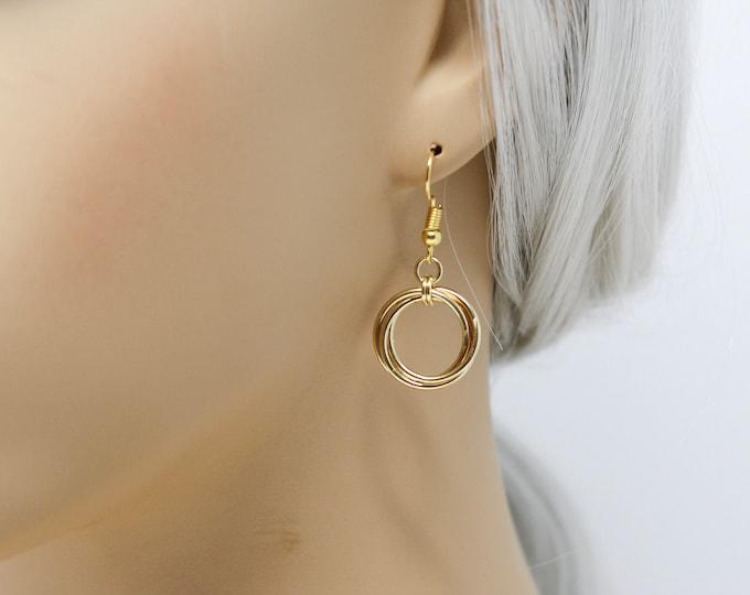 Gold Drop Earrings - Short Gold Mobius Drop Earrings