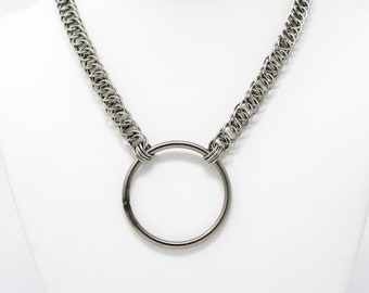 Stainless Steel O-Ring Collar - Half Persian Steel Large O-Ring Choker