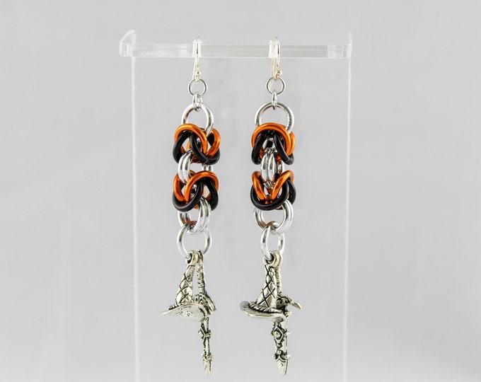 Halloween Earrings, Witch Earrings, Halloween Dangle Earrings, Byzantine Dangle Earrings, Witch's Hat Earrings, Halloween Jewelry, Spooky