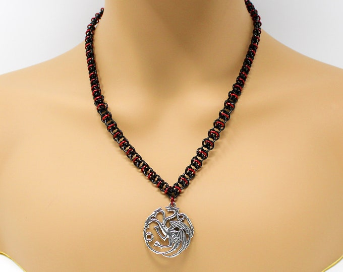 Red and Black Chainmaille Necklace - House Targaryen Necklace