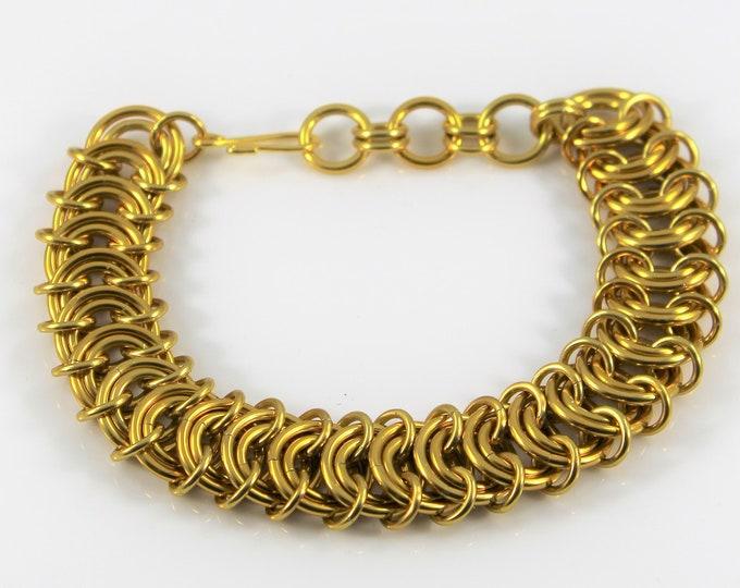 Men's Gold Chainmaille Bracelet - Chunky Gold Bracelet