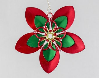 Poinsettia Christmas Tree Ornament - Scale Flower Ornament