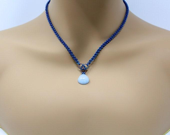 Aquamarine Titanium Chainmaille Necklace