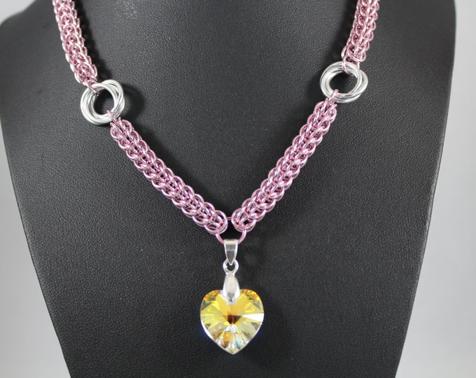 Pink and Silver AB Swarovski Heart Necklace, Chainmaille Full Persian