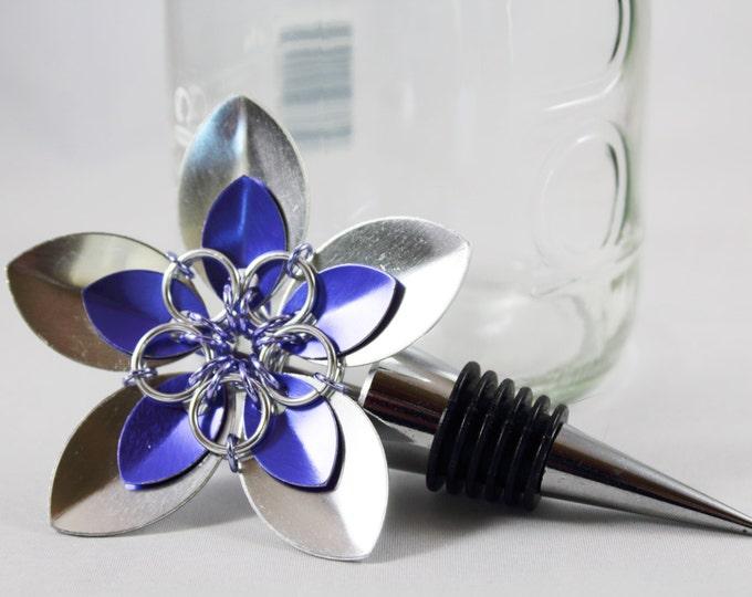 Stainless Steel Bottle Stopper - Silver & Purple Scale Flower