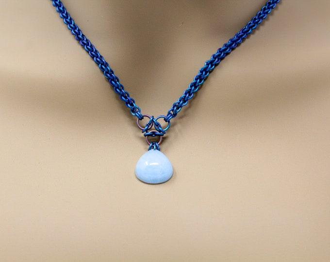 Featured listing image: Aquamarine Titanium Chainmaille Necklace