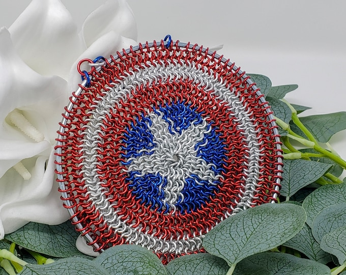 Red White and Blue Star Shield - Comic Book Shield - Captain America-Inspired Shield - Patriotic Decoration