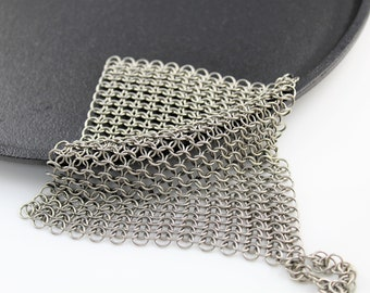 Stainless Steel Chainmaille Cast Iron Pan Scrubber
