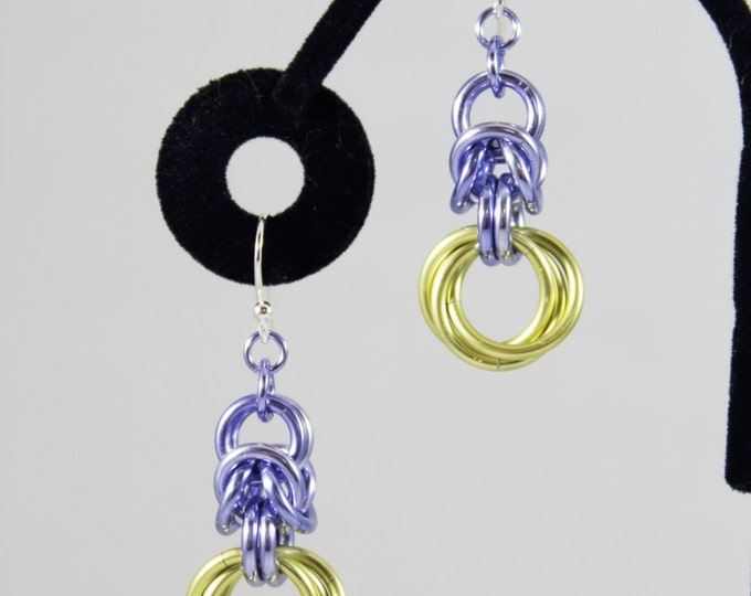 Chainmaille Dangle Earrings, Byzantine and Mobius