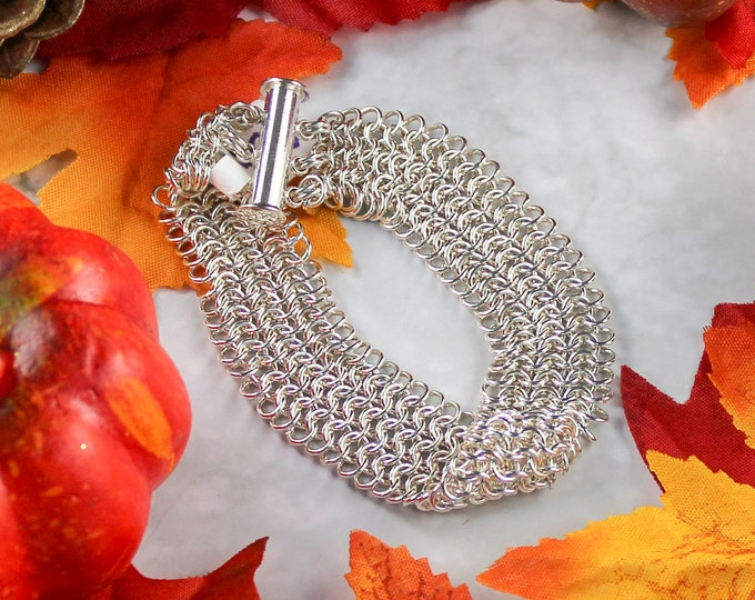 Silver Cuff Bracelet - Sterling Silver Chainmaille Cuff Bracelet