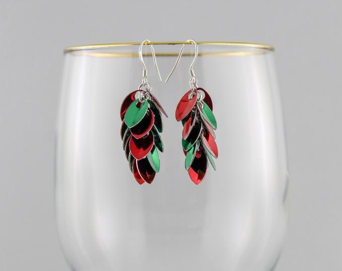 Holiday Tinsel Dangle Earrings - Christmas Tinsel Earrings