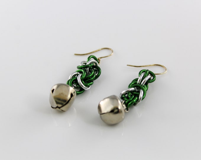 Christmas Chainmaille Earrings, Byzantine Bell Dangle