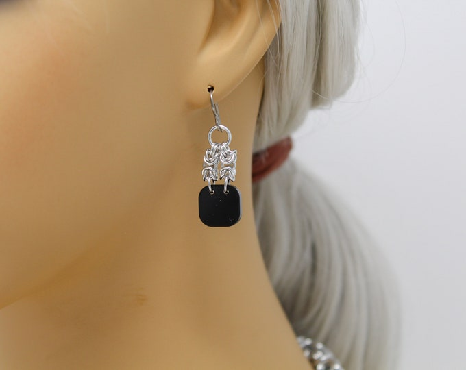Simple Black and Silver Byzantine Drop Earrings