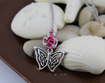 Celtic Butterfly Swirl Chainmaille Necklace - Stainless Steel Chain - Chainmaille Pendant Necklace - Pink Pendant Necklace