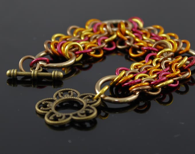 Fall Colors Chainmaille Bracelet, European 4 in 1 Variant
