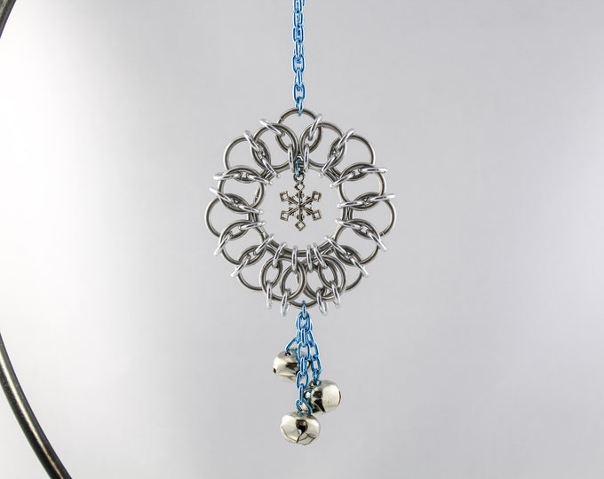 Snowflake Wreath Ornament - Chainmaille Ornament - Bell Ornament